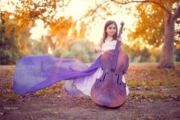 cute girl warm violoncello park
