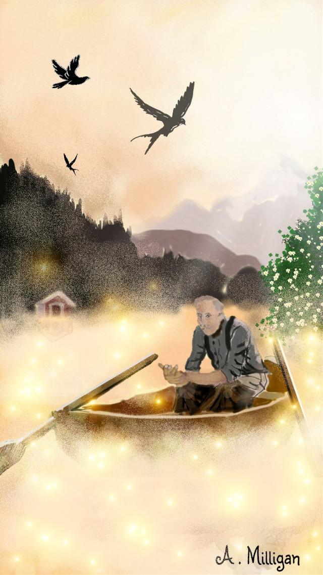 #wdpfog Re-entered my dcboat drawing for wdpfog 😊 💚 ❤ #colorsplash #colorful #nature #petsandanimals #people #scenery  #fog  #boat  #birds  #draw 😆 💚 ❤