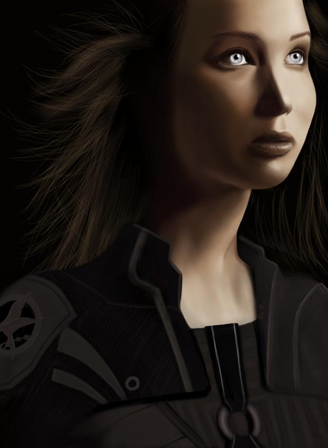 My drawing of Katniss Everdeen Mockingjay made in Sketchbook :)  #drawing  #katniss #mockingjay #jlaw #hungergames #sketchbook #portrait #art