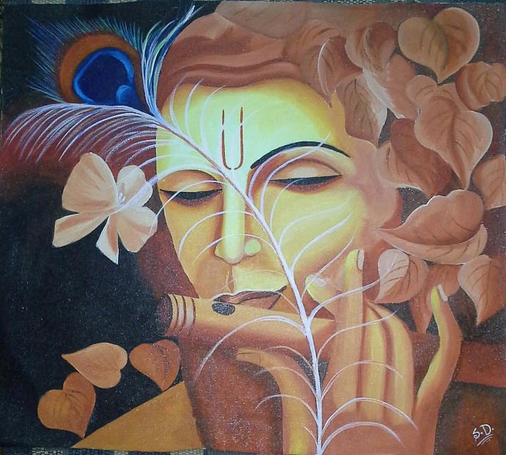 """KRISHNA"".. THE LORD OF LOVE ""  Artist..Santosh Dabhi,, Acrylic on Canvaas..2.0×1.5 ft.. @ $..200/= +P&H..  70' Acharya marg.. Udaipur city Rajasthan INDIA.. 313001 +91  7737696016"