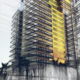 mycity pencileffect architecture building yellow