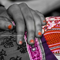 orange black hand blackandwhite colorsplash