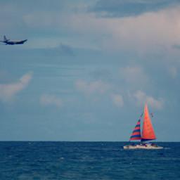 ocean colorful sailing airplanes freetoedit