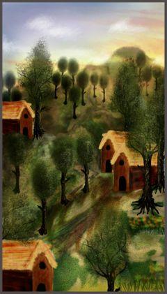 wdptrees wdptreeline hills trees houses