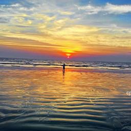 sunset sky evening beach people