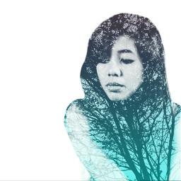 blue doubleexposure trees art photography
