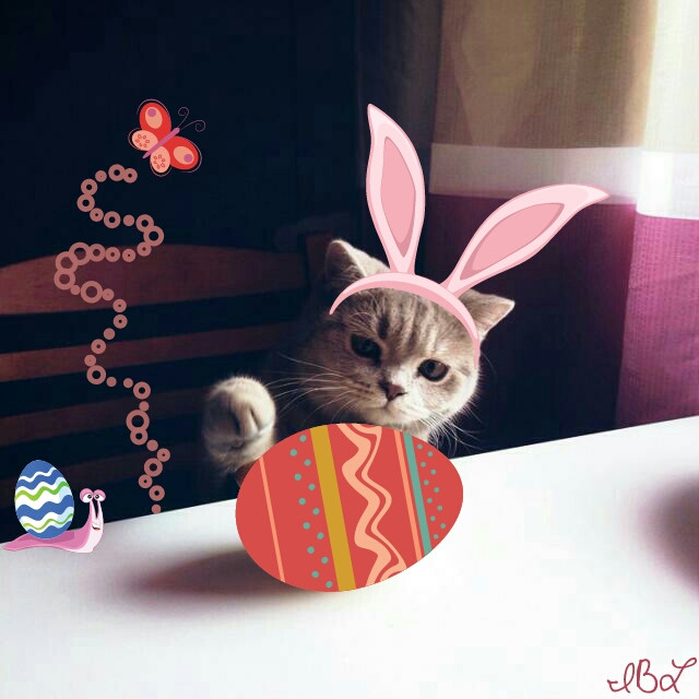 Featured!  #fteplayfulcat  #clipart #colorful  #cat  #easter