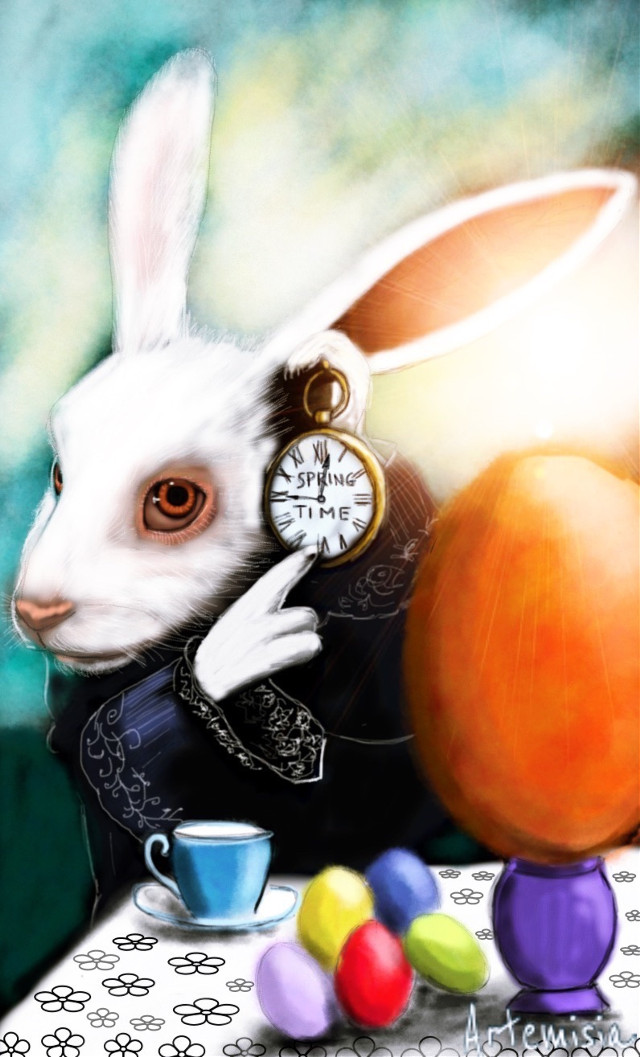 This is the final version of White  rabbit spring time.... I posted in error the unfinished draw.... Anyway I saw that you liked it the same... 😊 thank you my friends #bunny #drawing #cartoon #digitalart #springtime #eastereggs