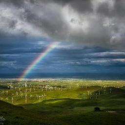 landscape clouds rainbow