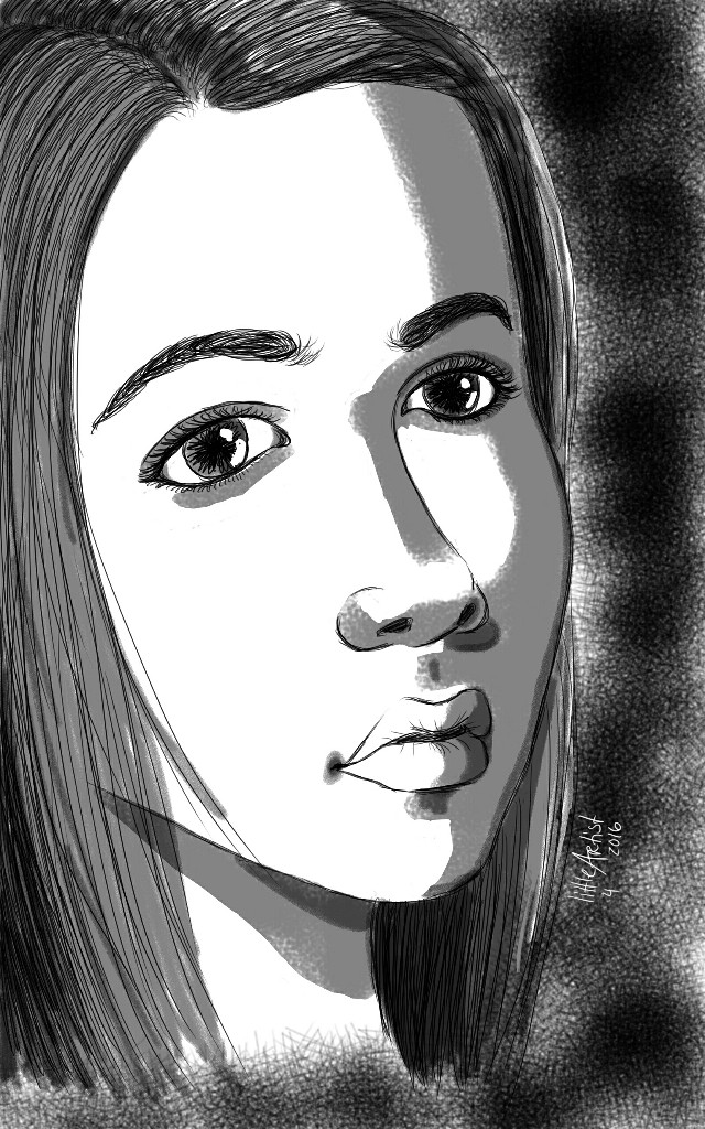 The girl  #blackandwhite #people #portrait #drawing  #ink