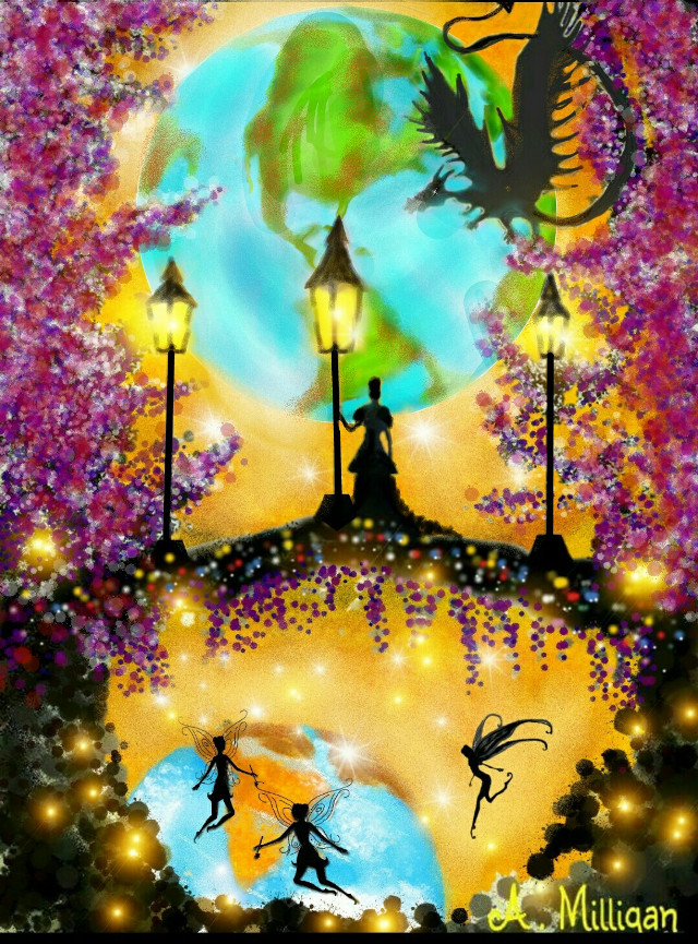 """#wdpearth """"When two world's collide"""" Revamped one of my old drawings 😊❤💚  #colorful #colorsplash #flower #nature #people  #magical  #fantasy  # earth #draw.😊 ❤ 💚"""