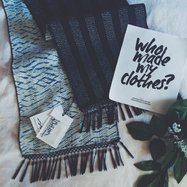From Fashion Revolution Week last week :) This scarf was made by the talented Asma! 💙 #flatlay #sustainable #fashion