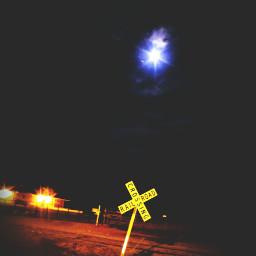railroad smalltown ethereal ominious moon