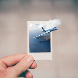poloroid doubleexposure clouds plane sea freetoedit