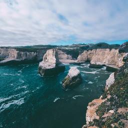 freetoedit nature sea rock blue